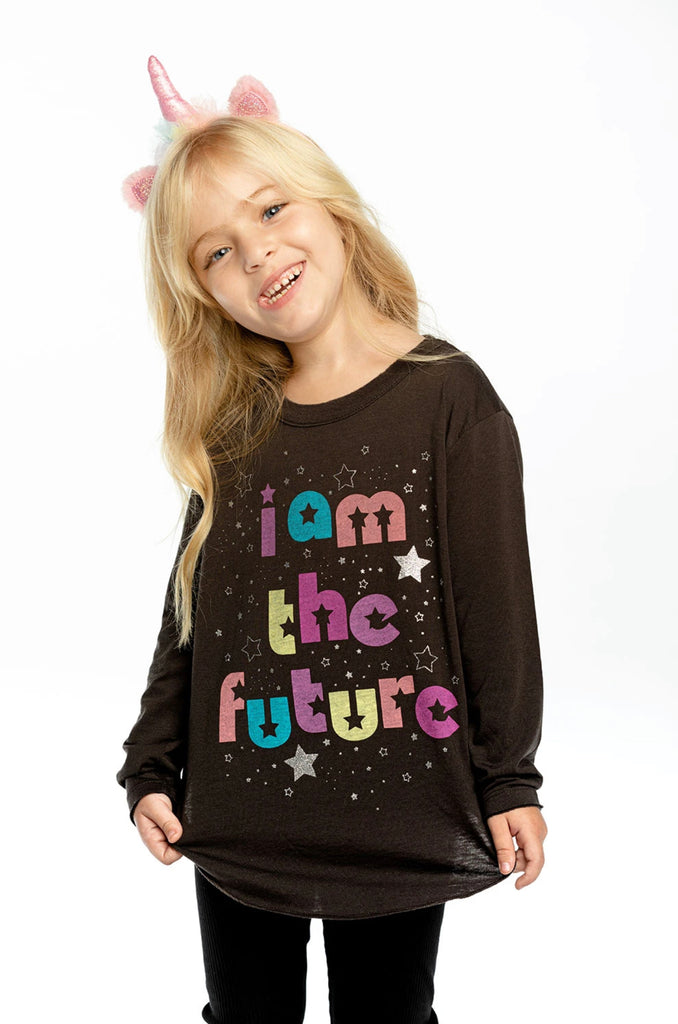 GIRLS RECYCLED VINTAGE JERSEY LONG SLEEVE-I AM THE FUTURE