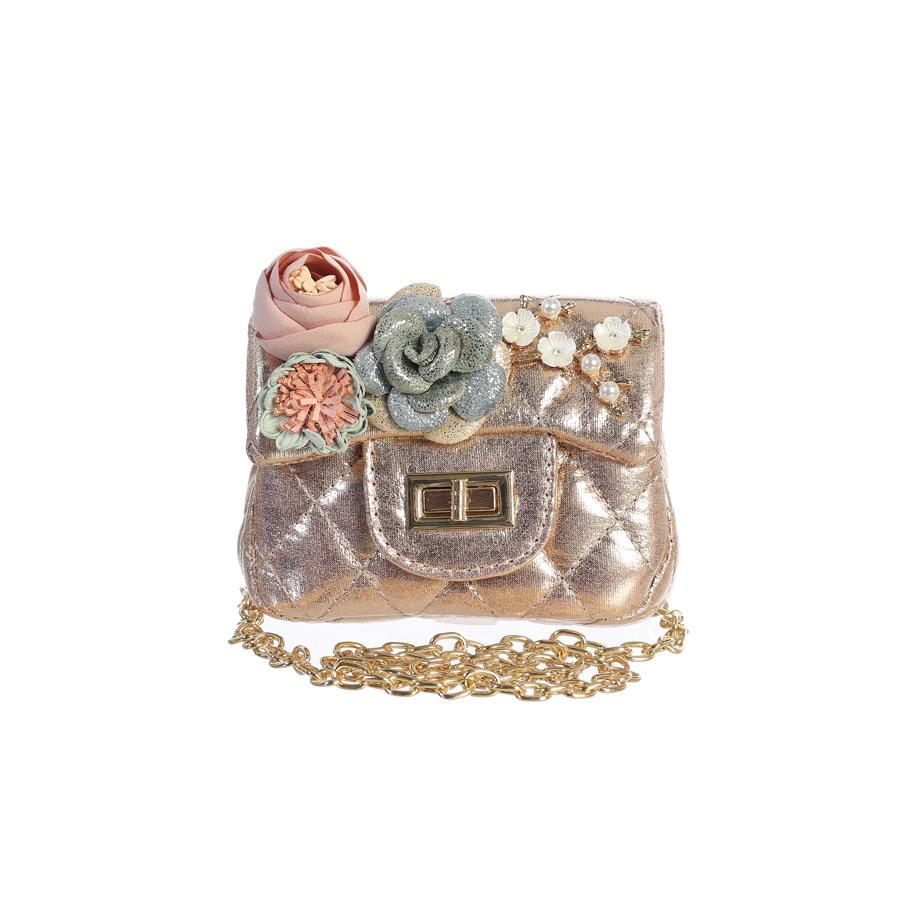 METALLIC MINI PURSE WITH FLOWERS: ROSE GOLD