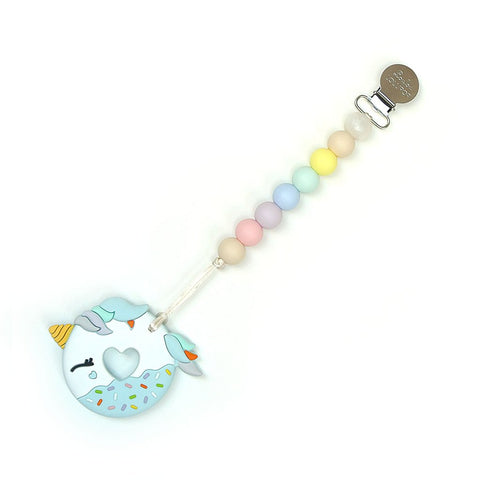 BLUE UNICORN DONUT SILICONE TEETHER - COTTON CANDY