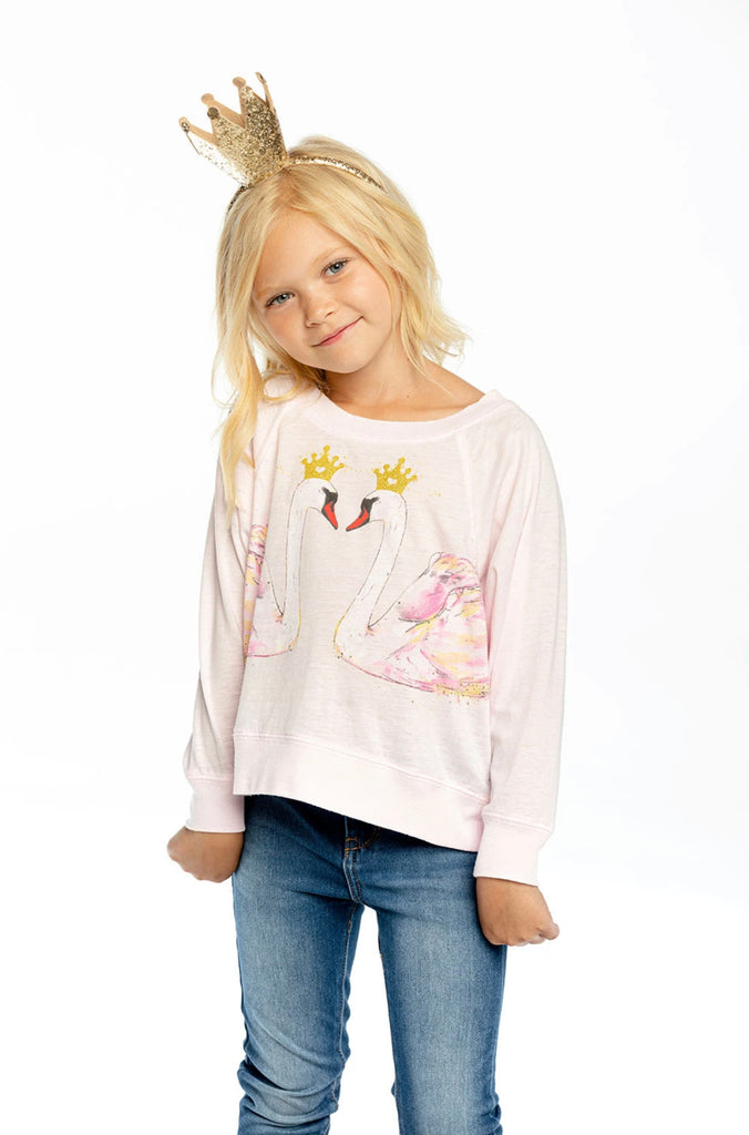 GIRLS RECYCLED VINTAGE JERSEY BOXY LONG SLEEVE CROPPED RAGLAN-CROWNED SWANS