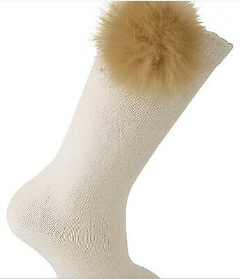 Knee Socks with Fur Pom