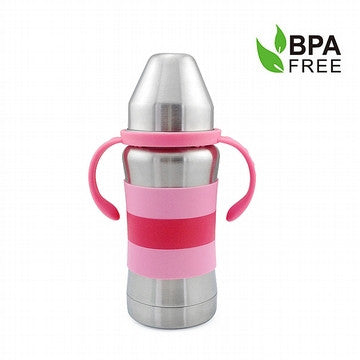 Standard Neck Stainless Steel Baby Bottle 9oz (red/pink)