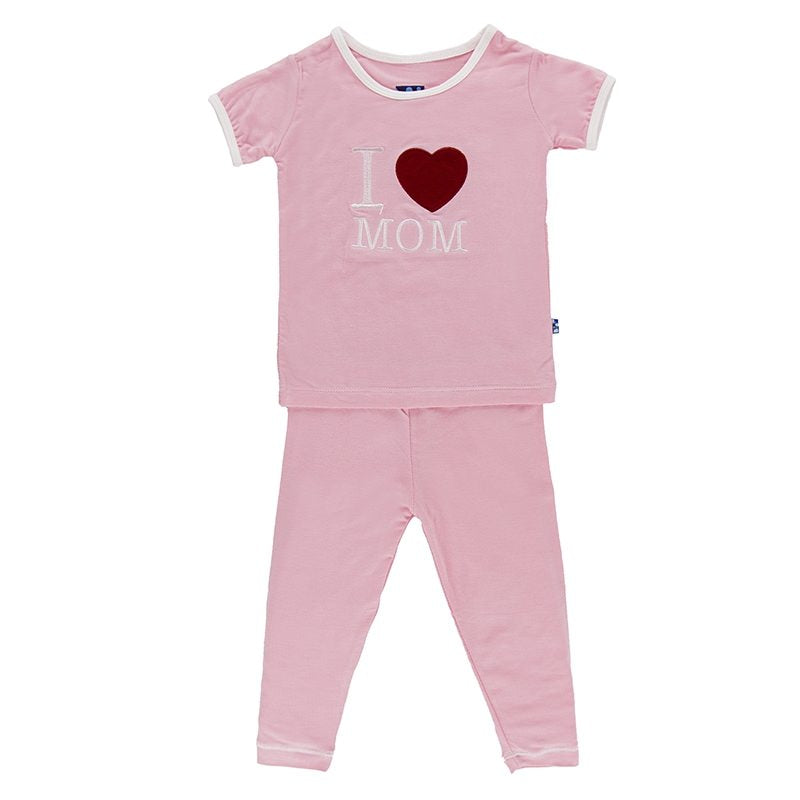 Holiday Short Sleeve Appliqué Pajama Set in Lotus I Love Mom