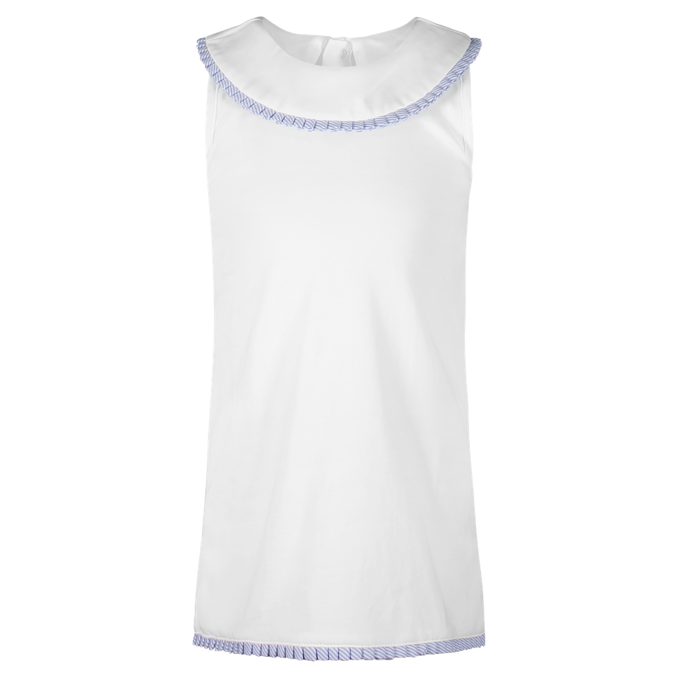 PRE-ORDER Maris Sleeveless Dress-White with Blue Stripe Ruffles