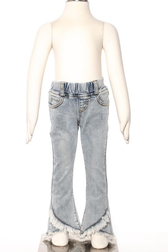 Light Wash Criss Cross Bottom Jeans FP0014