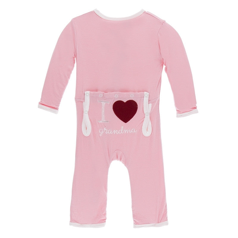 Holiday Applique Coverall in Lotus I Love Grandma