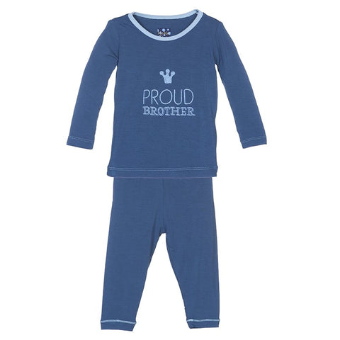 Holiday Long Sleeve Appliqué Pajama Set in Twilight Proud Brother