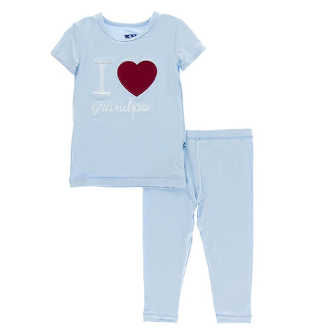 Holiday Short Sleeve Appliqué Pajama Set in Pond I Love Grandpa