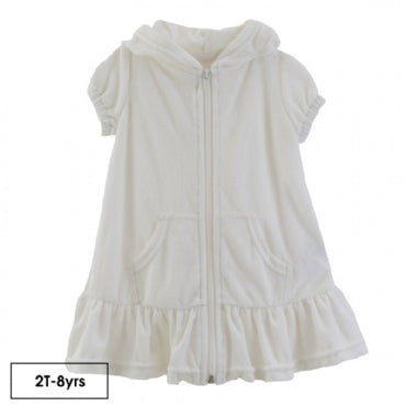 Solid Terry Ruffle Swim Cover-Up (Natural)