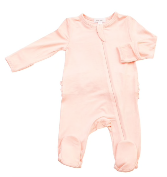 Solid Pink Ruffle Back Footie