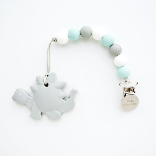 Grey Dinosaur Teether with holder set (Teether)