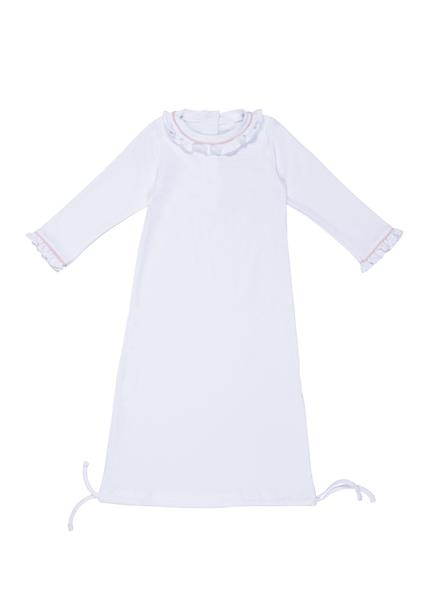 Georgia Daygown-White w/ Light Pink Piping