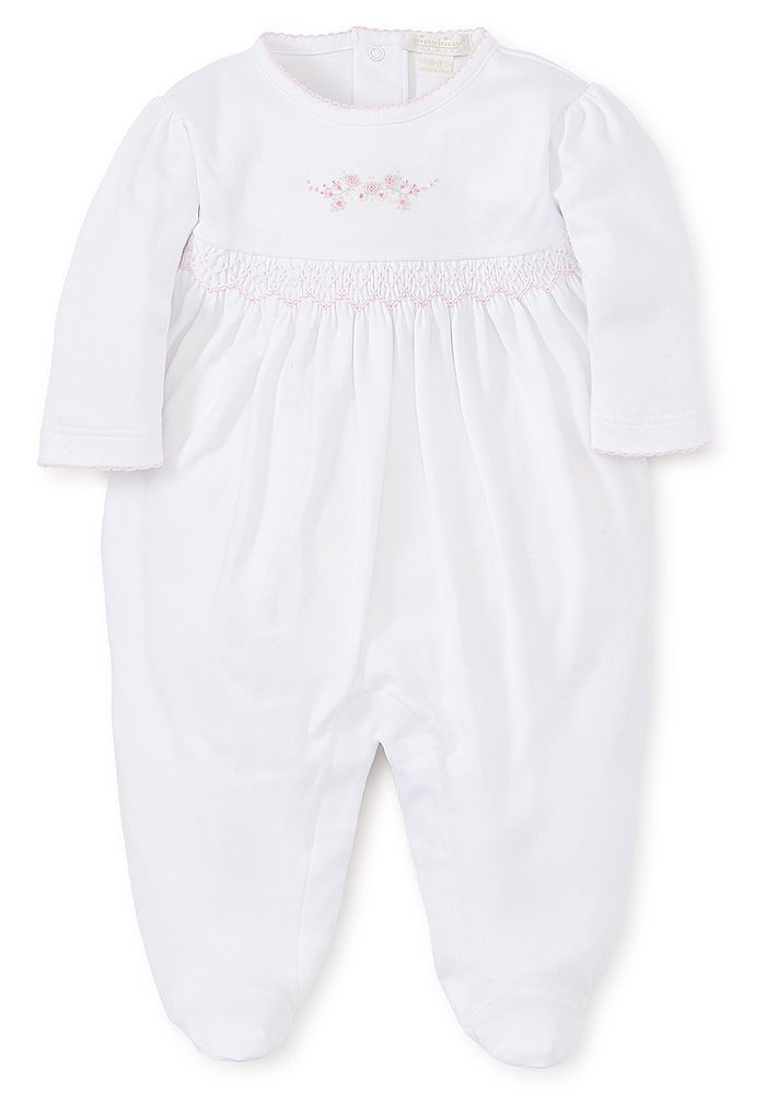 KISSY KISSY BABY GIRLS PREMIER GARDEN PARADE WHITE FOOTIE - SMOCKED