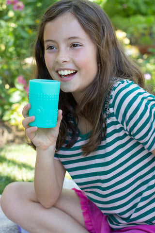 SILISKIN® GLASS CUP FOR KIDS 6OZ - 2PK {SEA}