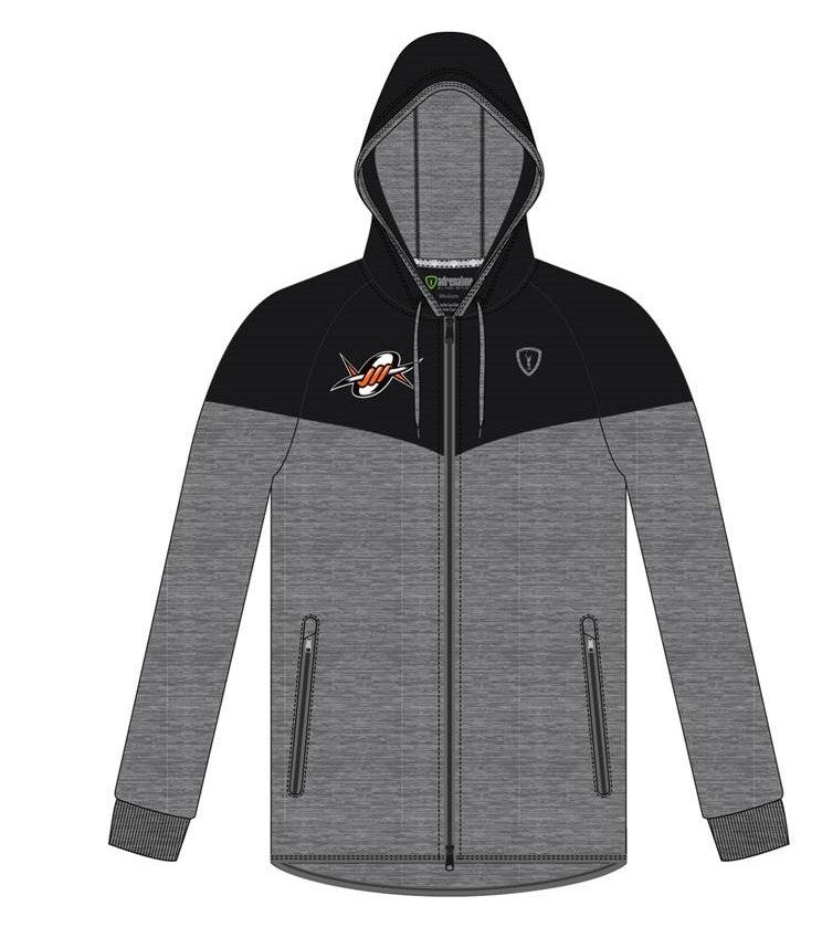 LT Full Zip Hoodie Heathered Grey/Black Screen Printed Outlaws Logo