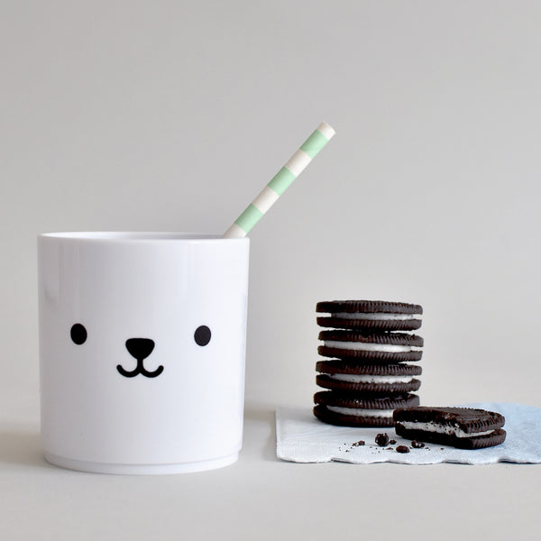 Cute Buddy and Bear Bear Tumbler Plastic Cup White Edition