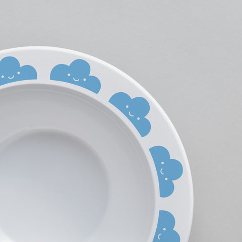 Cute Buddy and Bear Happy Clouds Plastic Bowl Blue