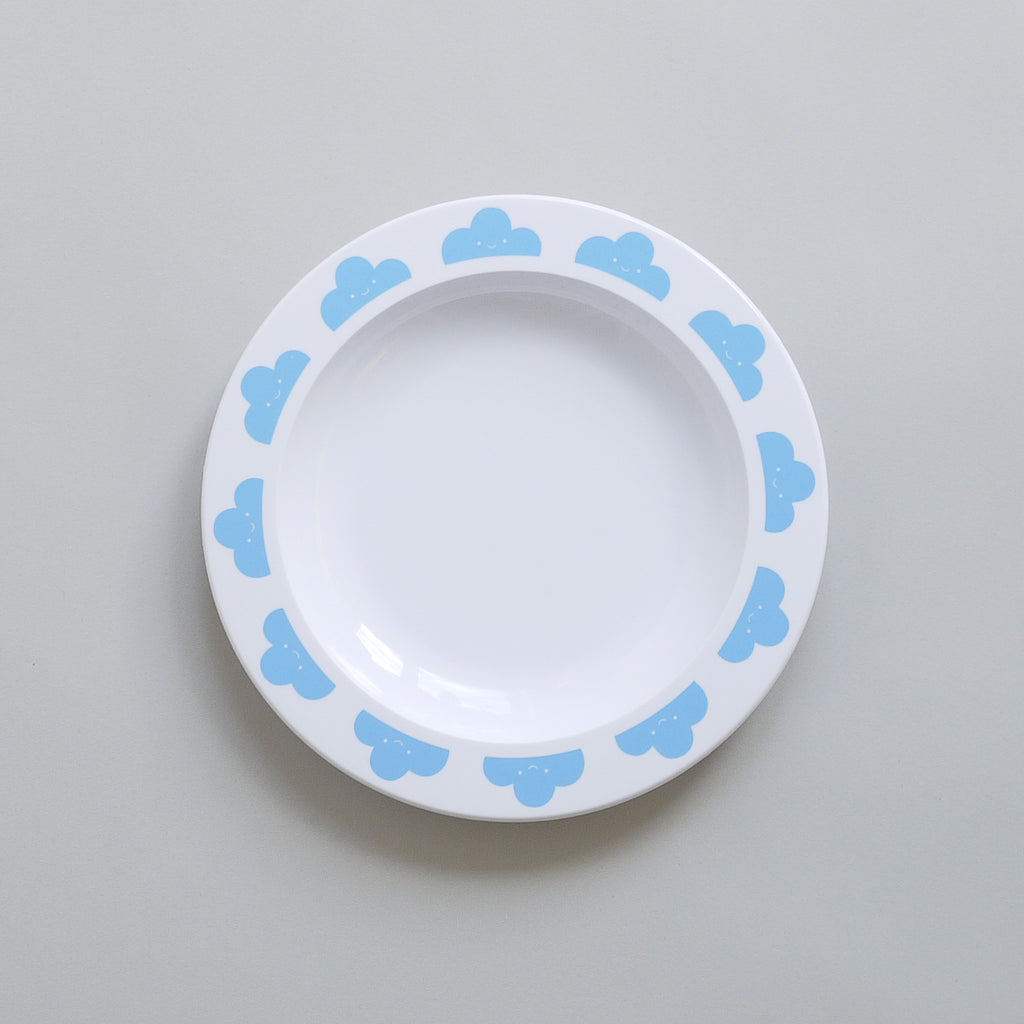 Cute Buddy and Bear Happy Clouds Plastic Plate Blue