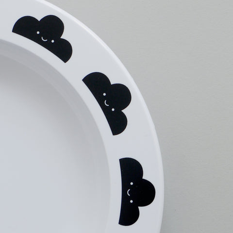 Cute Buddy and Bear Happy Clouds Plastic Plate Black