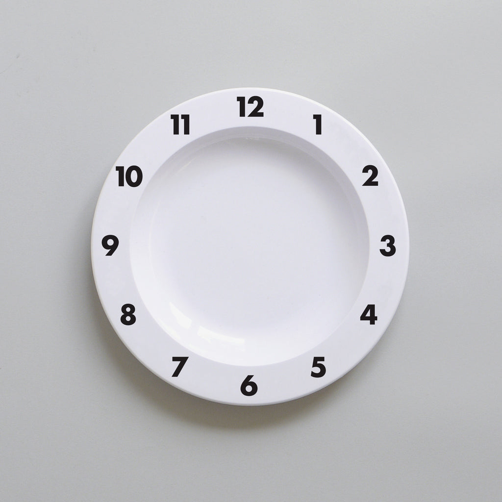 Cute Buddy and Bear Dinner Time Clock Plate Black