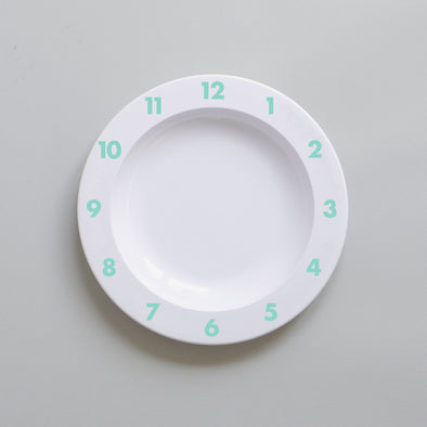 Cute Buddy and Bear Dinner Time Clock Plate Mint