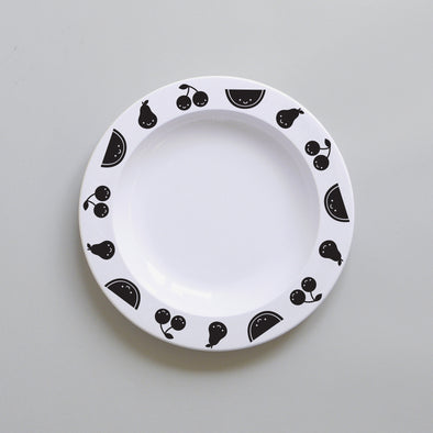 Cute Buddy and Bear Fruit Friends Plastic Plate Black