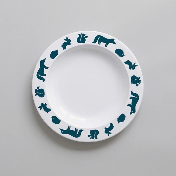 Toddler & Childrens Woodland Animal Plastic Plate (Ink)