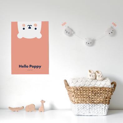 Personalised Peeping Bear Print - Multiple Sizes