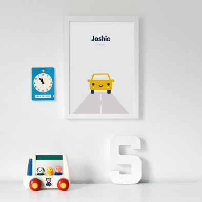 Toddler Baby Personalised nursery car print