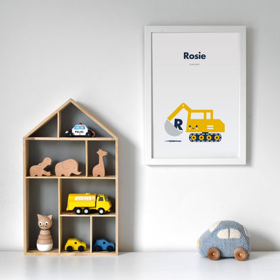 Cute personalised digger excavator nursery print