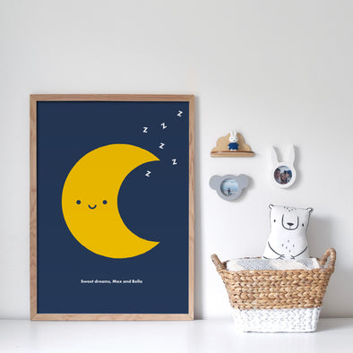 Personalised Sleepy Moon Print - Multiple Sizes