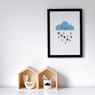 Personalised Happy Rain Cloud Print - Multiple Sizes