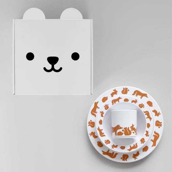 Woodland Animals Plate, Cup and Bowl Gift Set - Cinnamon