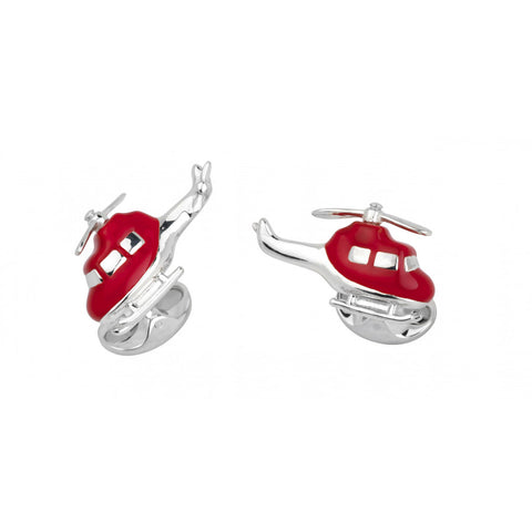 Deakin & Francis Silver Helicopter Cufflinks Red
