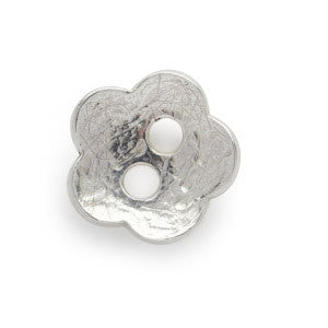 Silver Flower Button Charm