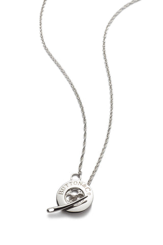 Sterling silver signature button necklace