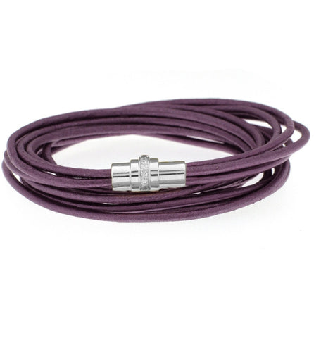 Deep Purple Leather Bracelet