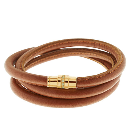 Cognac Brown Leather Bracelet with Zirconia Clasp