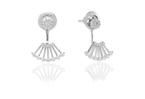 Ear jackets Ravenna Uno with white zirconia