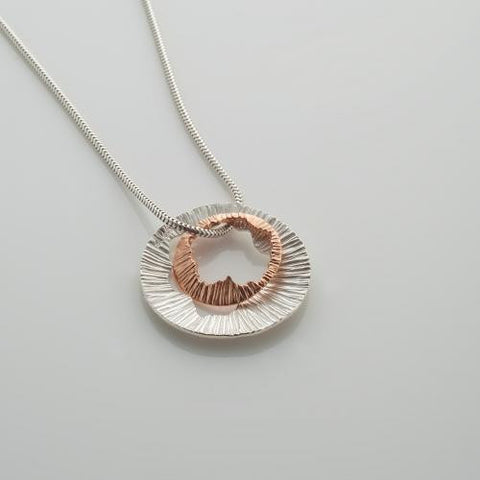 Small Rose Gold & Sterling Silver Necklace