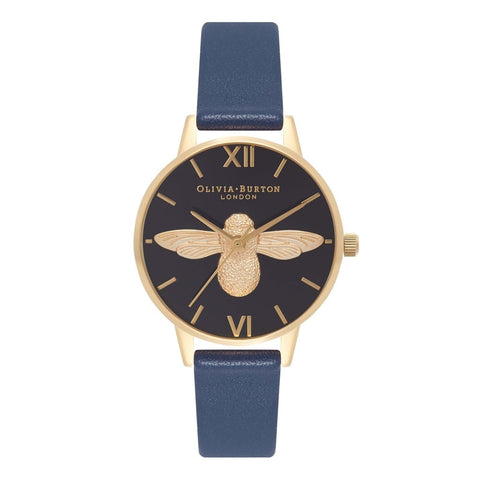 Navy and Gold 3D Moulded Bee Olivia Burton Watch