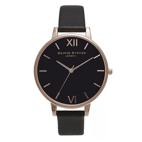Big Dial Black and Rose Gold Olivia Burton Watch
