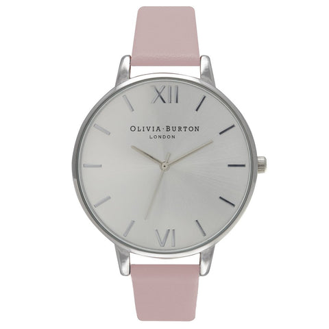Olivia Burton Big Dial Dusty Pink and Silver Watch