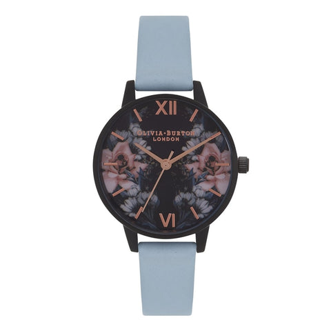 After Dark Floral IP Black, Chalk Blue & Rose Gold Watch