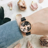 Olivia Burton Botanical 3D Bee Watch in Black & Rose Gold