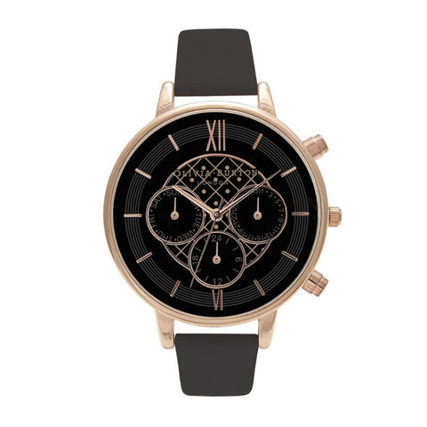 Chrono Detail Dot Design Black and Rose Gold Olivia Burton Watch