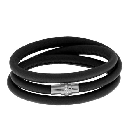 Black Leather Bracelet with Zirconia Clasp