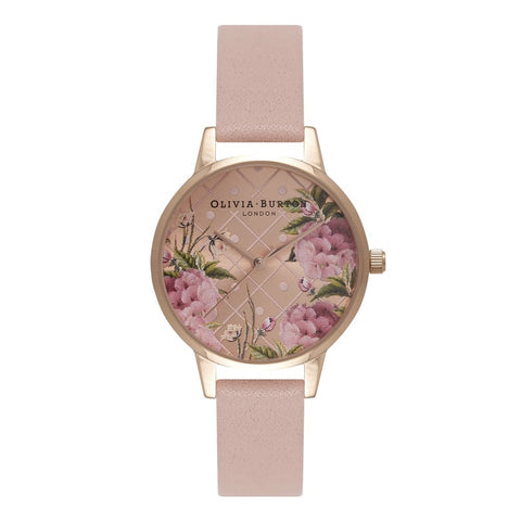 Dot Design Floral Dusty Pink & Rose Gold watch