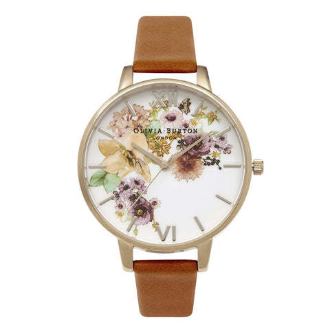 Flower Show Watercolour and Tan Watch