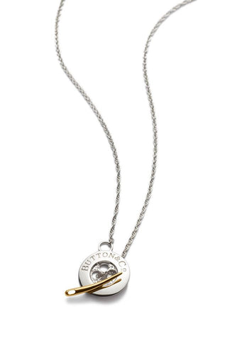 Sterling Silver Button Necklace with Gold Needle